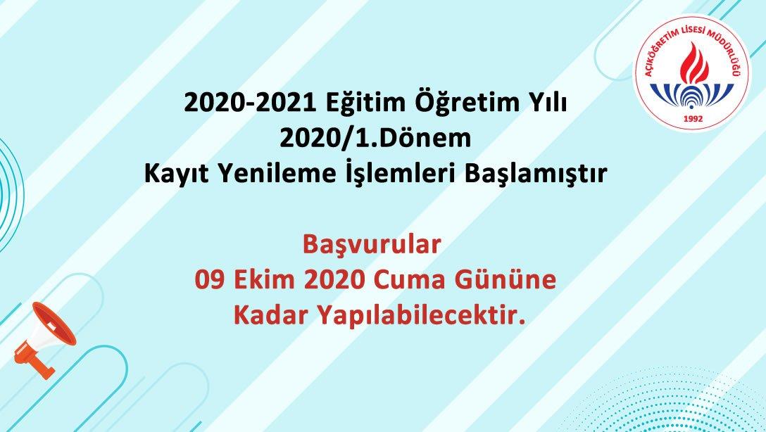 2020-2021 1. Dönem kayıtları ve ders seçimi için SON GÜN 9 Ekim Cuma. SÜRE UZATIMI YOK!