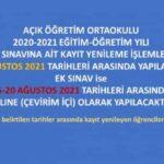 Açık Öğretim Orta Okulu Öğrencilerine de Şartsız EK Sınav Var.