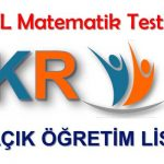 Açık Lise (998) Matematik 1 Test 4 (Nisan 2019)