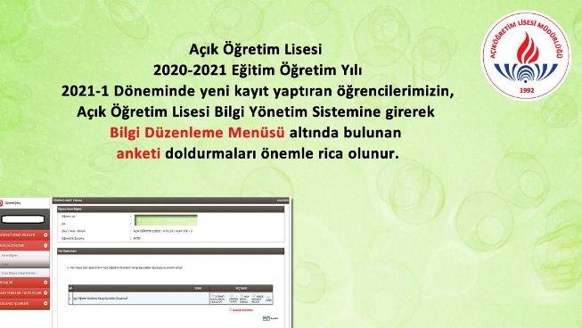 AÖL 2021-1 Döneminde yeni kayıt yaptıran öğrencilere Anket Doldurma duyurusu