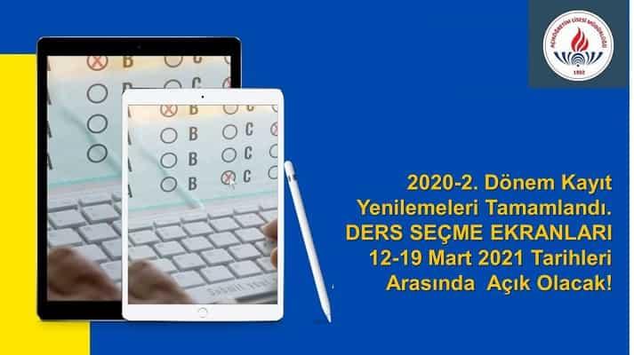 Ücretsiz Otomatik Kayıt Yenilemeler Tamamlandı, Gün içinde DERS SEÇİM EKRANI Açılacak.