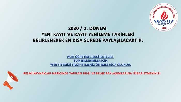 AÖL 2020-2. Dönem Kayıt Yenileme Tarihleri Duyurusu