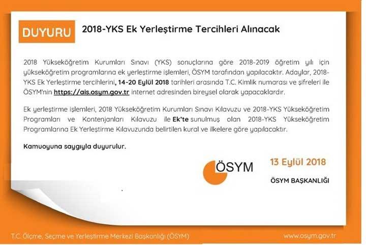 2018-YKS Ek Yerleştirme Kontenjanları Açıklandı, Tercihler 14-20 Eylül Tarihleri Arasında