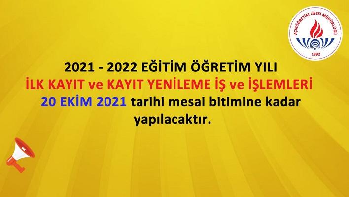 Açık Lise 2021 1. dönem kayıtları için uzatma yapıldı, son gün 20 Ekim Çarşamba