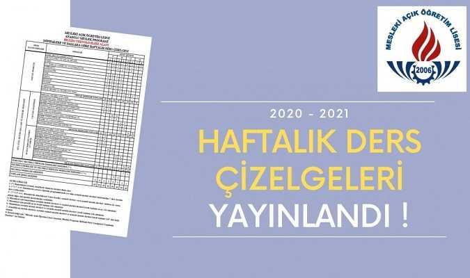 Mesleki Açık Öğretim Lisesi 2020-2021 Haftalık Ders Çizelgeleri Yayınlandı
