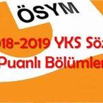 2019 YKS Sözel Puanlı Bölümler ve 2018 YKS Taban Puanları